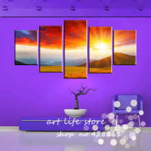 5 Panels 5 pieces Whole Set smaller size Painting Canvas Wall Art Picture All Sky Sun Rise Home Decoration Canvas Prints(China)