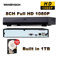 CCTV Mini HD NVR 8CH Video Recorder Onvif 8 Channel H.264 Network DVR +1000GB HDD For IP Camera Security System P2P