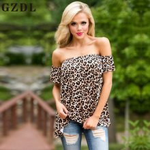 GZDL Fashion Leopard Print Women Backless Tops Blouses Short Sleeve Slash Neck Sexy Female Party Long Shirts Summer Style CL3813