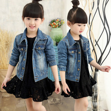 Teenager Girls Denim Jackets Coats Spring Autumn 2017 kids Children's Outwear Clothing Jeans Jacket for girls 4-12 years old 49(China)