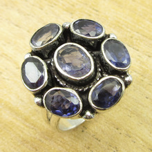 Genuine Amethysts EXCITING Ring Size US 7.5 ! Silver Plated Jewelry ONLINE STORE