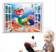 1424 NEW design !Wall Stickers Window Wall Cartton The Mermaid Princess Vinyl Wall Stickers Removable 3d Art wall stickers(China)