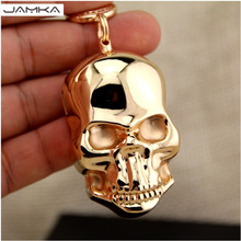 Novelty Electronic Tobacco Cigarette Lighter Metal Carving Skull Cigar USB Lighter Key Ring Pendant Hanging Decoration With Box(China)