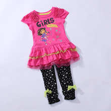 Wholesale Dora Children Clothing Set Girl Girls Red Short Sleeve T-shirt t shirt Top + Black Pant Outfit Suit WH78(China)