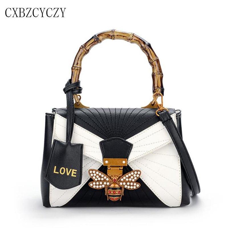 Women Luxury Designer Bee PU Leather Shoulder Bags 2017 Small Totes Crossbody Bag For Girls Ladies Women Handbags Bolsa Feminina<br>