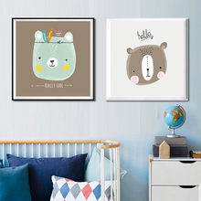 Modern Canvas Art Print Poster Wall Picture Painting Cartoon Animals Cute Rabbit Bear Cat Lion unframed Kids BabyRoom Home Decor