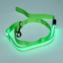 Free shipping 118 * 2.5 cm Pet Leash Rope Belt LED Flashing Dog Harness Safety Lead Blinking Light Nylon Green