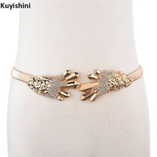 Fashion Ladies Luxury Belt for Dress Rhinestone Bear Claws Buckle Gold Waist Chain Stretch Wedding Belts(China)