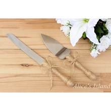 1 set Wedding Cake Server and Knife Nautical Rustic Wedding Cake Cutting Set Wedding Party Birthday decoration(China)