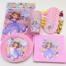 Sofia Princess Baby Shower Tablecloth Birthday Party Dishes Kids Favors Paper Plates Cups Decoration Blow Outs Supplies 57pc\lot