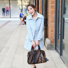UK New 2017 Women Fall / Winter Woolen Single Breasted Slim Long Coat Simple Light blue Turquoise Overcoat casaco manteau femme(China)