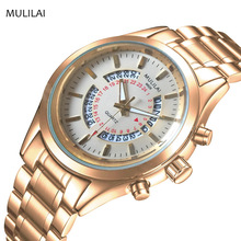 Belt large dial male watch new hot MULILAI authentic men's watch fashion trendy watch waterproof six-pin quartz watch(China)