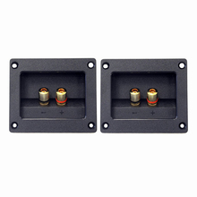 THGS 2pcs DIY Home Car Stereo 2-way Speaker Box Terminal Round Square Spring Cup Connector Binding Post Banana jack and plugs(China)