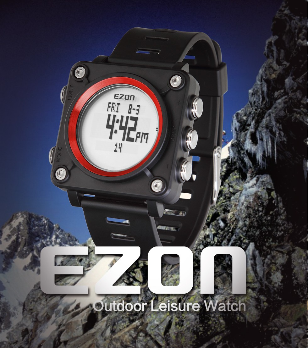EZON Top Brand  Men Women Sports Watches 5ATM Waterproof Fashion Digital Outdoor Wristwatch Compass Stopwatch  L012<br>