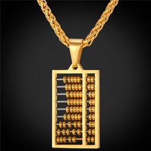 Abacus Pendant Necklace Charms Jewelry Gift Stainless Steel/Gold Color Chain Men/Women 2016 New GP1892