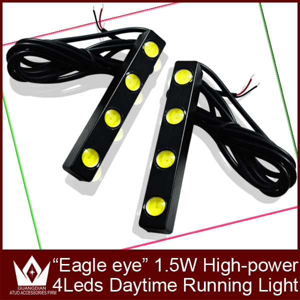 Guang Dian 2pcs High Power Aluminum 2*4W 4led eagle eyes LED Daytime Running Lights DRL for universal car waterproof auto car<br><br>Aliexpress