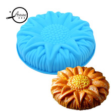 26*26*5.5cm Big Sunflower Cake Mold Silicone Baking Tools Stencils For Cakes Bakeware Pan Bakery Products