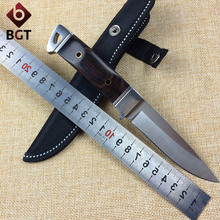 BGT K90 Camping Hunting Straight knife steel head + color wood Handle Outdoor Tactical Survival Fixed Blade Knives EDC Tools