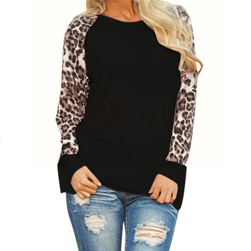 Leopard Women Top Blouses 2018 Long Sleeve Patchwork Shirt Tunic Tee Shirt Femme Blusas Mujer Plus Size S-5XL Drop Shipping #555(China)