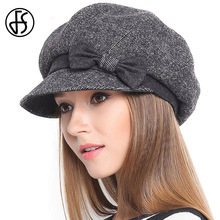 FS Retro Bowknot Black Khaki Wool Beret Hat For Ladies Short Brim Winter Floppy Flat French Berets Cap Boina Feminina(China)