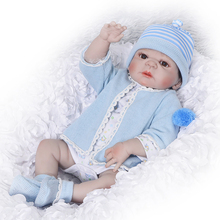 Buy Full Silicone Body Reborn Dolls Clothes Pacifier +Milk bottle + Gift Toy Boneca Reborn 23'' Realistic Handmade Baby Dolls Boy Fashion Kids Toy Waterproof Doll