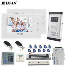 "JERUAN Apartment  7"" Video Intercom Door Phone System kit 2 Monitor 700TVL Camera RFID Access Control For 2 Household In Stock"