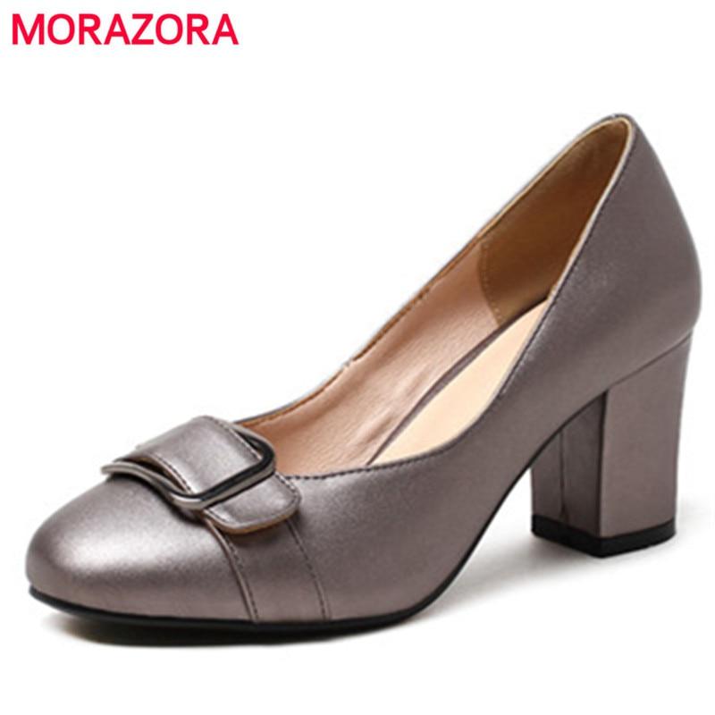 MORAZORA Four seasons work shoes office lady shallow buckle PU high heels shoes fashion elegant women pumps big size 34-43<br>