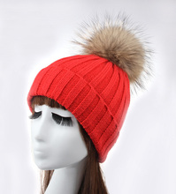 Retail Women Stylish Winter knitting Hats bobble hat Removable Raccoon Fur Ball Top Fitted Apparel Accessories ladies Beanie