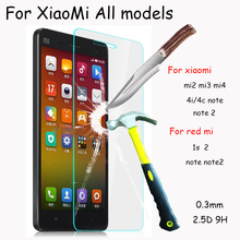 9h Tempered Glass Protective Film for Xiaomi Mi2 Mi3 Mi4 4i /4C Redmi Hongmi 1S / 2 / Note Note 2 3Mobile Phone Screen Protector(China)