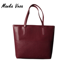 Manka Vesa 2017 Hot Women Black PU Leather Bag Weave Pattern Handbags Vintage Clutches Messenger Female Shopping Tote Bags