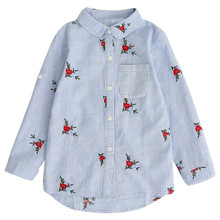 Girls Clothes 2017 New Autumn Baby Girls Tops T-Shirt Red Flowers Embroidery Strip Kids Button Down Shirts Children Clothing