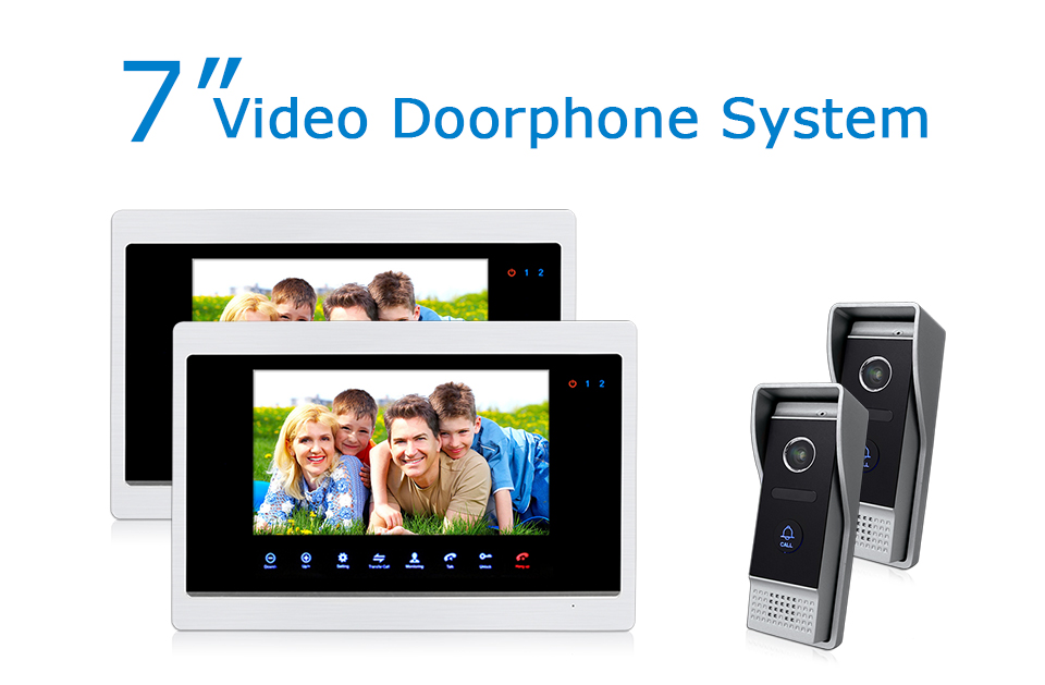 """7/"""" LCD Color Video Door Phone Doorbell Home Security Intercom Kit 2 Monitors"""