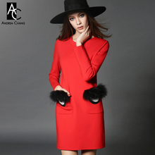 2016 winter spring designer womens dresses red mini dress black fur eye pattern applique pockets fashion cute casual brand dress(China)