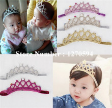 10pcs/lot Girl Crown Headband Glitter Tiara Hairband  Pearls Crystal Kid Birthday Headband Fashion Girls Stretch Headband