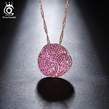 ORSA JEWELS Lead&Nickel Free 3 Times Rose Gold Color flower Pendant Necklace with AAA Cubic Zircon for Women/Lover Gift ON124(China)