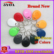 100 Pcs/lot EM4305 Copy Rewritable Writable Rewrite EM ID keyfobs RFID Tag Key Ring Card 125KHZ Proximity Token Badge Duplicate