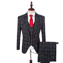 Latest Coat Pant Designs Custom Made Tweed Men Fashion Wedding Suits With Pants Costume Homme Best Man Blazer (Jacket+Pant+Vest)