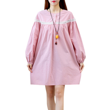 Fall Clothes 2017 New Autumn Clothing Women Long Sleeve Cotton Dresses Ladies Lantern Sleeve Vintage Dress Pink,White,Blue(China)