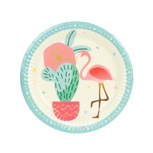 10pcs 7inch Flamingo&Cactus Paper Plates Birthday Wedding Party Supplies Decoration Cake Dish Disposable Baby Shower Favors(China)