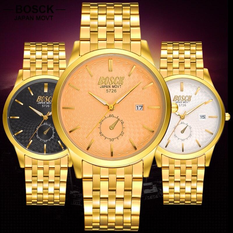 BOSCK Brand Mens Business Watch Quartz Gold Watches Men Clock Ultra Thin Watch for Men Waterproof Wristwatch 5726 roleingly<br><br>Aliexpress