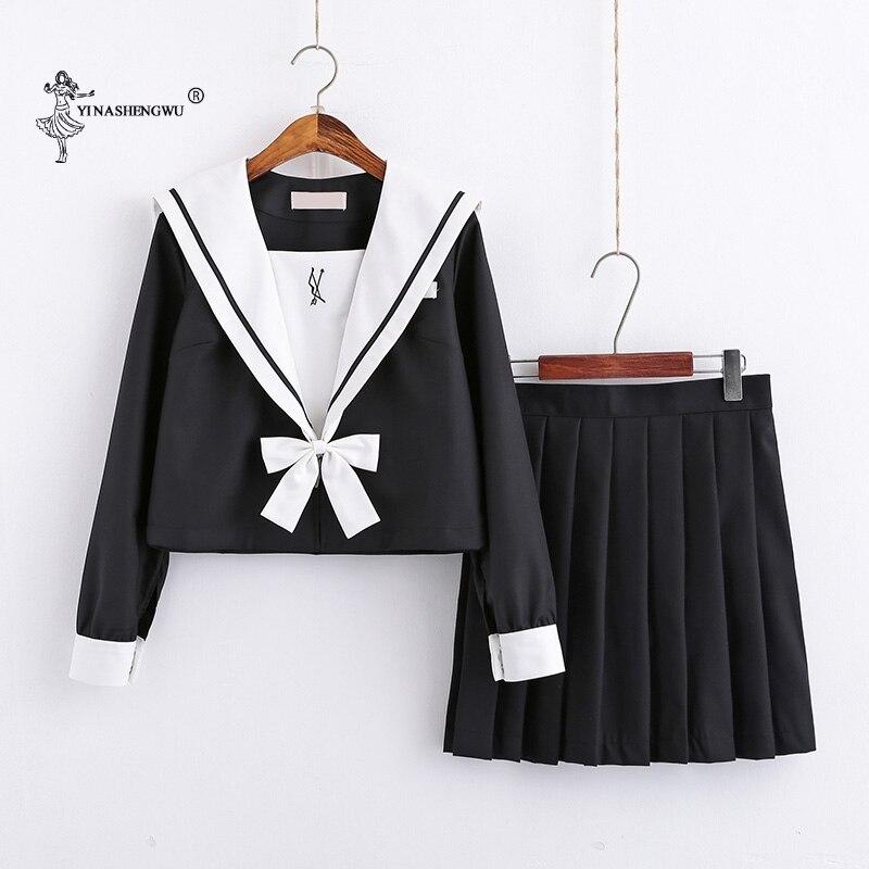 Japanese College Middle School Uniform Sailor Suit Students JK Uniform Long Sleeve Pleated Skirt Anime School Costumes For Girl