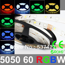 Epistar Chip 5050 SMD 60 LED/Meter RGB+W LED Strip Light 2 years warranty,CE RoHS Certified, 5 Meter+1 Controler/Pack(China)