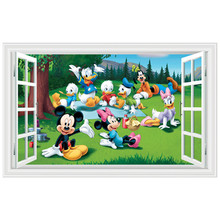 Nursery anime wall decals Mickey mouse Donald Duck happy picnic 3d fake window vinyl stickers for kids rooms adesivo wallpaper
