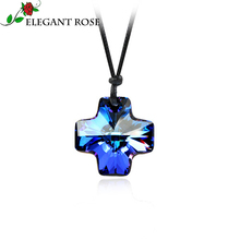 Dark Blue Austrian Crystal Jewelry Cross Necklace&Pendants Imported Rope China Elegant Rose Brand Fashion statement Necklace