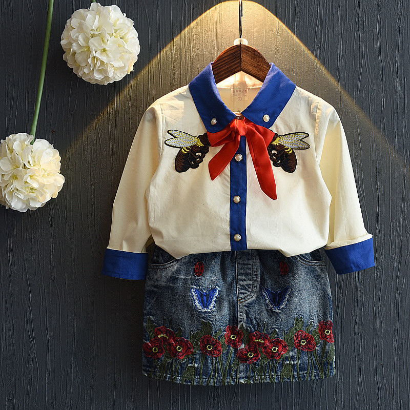Girls set embroidery skirt + bee floral cowboy clothing suits winter girl child clothes 3-7 years children clothes<br><br>Aliexpress