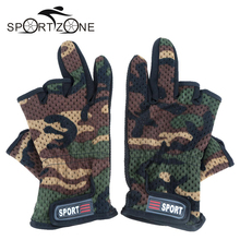 Outdoor Gloves High Quality Anti-slip Fishing Gloves Breathable Wear Resistant 3 Low-Cut Fingers Fishing Gloves