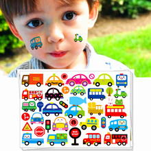 M-theory Cartoon Cars Temporary Body Art Sticker Toys Bus Taxi Vehicle Flash Tattoos Sticker 17*10cm   Toys Decoration Decals