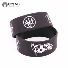 OMENG  My Chemical Romance Silicone Wristband Show Your Support Rubber Power Men Bracelet Spider Punk Rock Band Music OSL010
