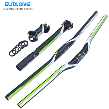 ELITAONE Green Full Carbon Handlebar MTB Bike set accessories Handlebar+Seatpost+Stem= MTB Bike Part Set green 3K gloss(China)