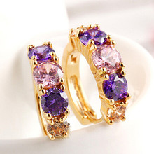 [Buy one get one free] Fashion jewelry noble temperament color inlaid zircon tooth ring female  gold high-end earrings006